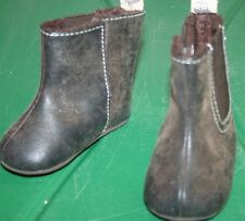 r- SHOES BABY SZ 2 BROWN FUR LINED ANKLE BOOTS W/VELCRO CLOSE UNIQUE AND CUTE