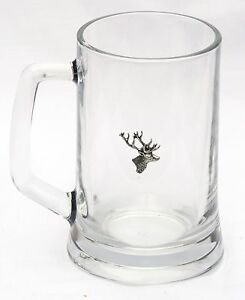 Stag Head Pewter Motif Handled Glass Beer Lager Tankard oversize pint 600ml  347