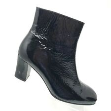 GABOR Ankle Boot Black Crinkle Patent Leather Side Zip Heel Womens SIZE US 8