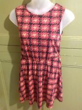 Size 12 River Island Soft Stretch Sleeveless Skater Dress Elastic Waist  Summer
