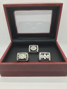 3 Pcs Raiders Super Bowl Championship Ring Set with wooden display box