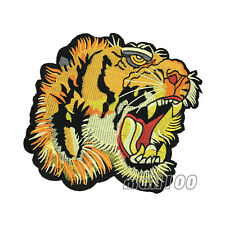 Tiger Yellow Embroidered Patches Sewing Iron on Applique Badges 19*21cm