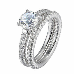 Wedding Engagement Ring Set For Women 1.5ct Round AAA Cz White Gold Plated Sz 6