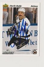 91/92 Upper Deck Charlie Huddy Los Angeles Kings Autographed Hockey Card