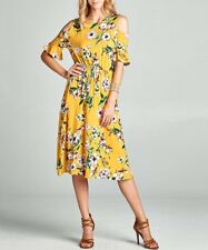 Love Kuza Mustard Floral A line Cold Shoulder Dress L