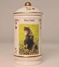 New listing Vtg Lenox Cats of Distinction Bay Leaf Spice Jar & Sealed Lid Porcelain 24k Gold