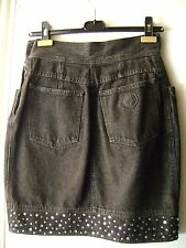 Authentic Moschino Jeans Denim Skirt w/ Rhinestone Studded Trim (1990s)