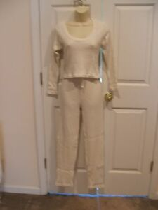 new/pkg frederick's of hollywood 2pc white/gold thermal top/pant  pj set Small