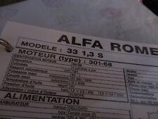 FICHE TECHNIQUE REGLAGE/MISE AU POINT MOTr ALFA ROMEO 33(1,5 TI & 4X4)PLASTIFIE