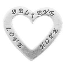 Sterling Silver 925 Affirmation Believe Love Hope Heart Charm   2.6gram Charm