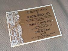 50 x Handmade Personalised Vintage Lace Twine Rustic Kraft Wedding Invitations