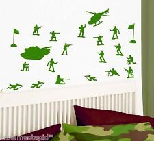 17 x Little Green Army Men Toy Soldiers Boys Wall Car Stickers Tank Helicopter