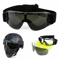 3 Lens Tactical UV-400 Protection Goggles Eye Safe Airsoft Paintball Glasses Kit