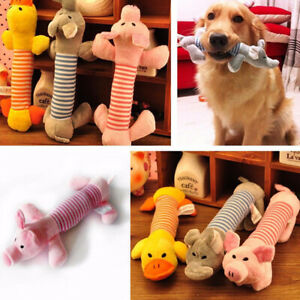Pet Chew Toy Dog Puppy Squeaker Squeaky Play Soft Cute Plush Sound Teeth Toys