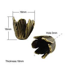 5pcs DIY Tibetan Style Bead Caps Flower Spacer Bead Antique Bronze 16x18mm Craft
