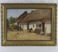 Antik Öl Gemälde Bauernhof Hühner in Stuckrahmen 1933 Monogrammiert S.À