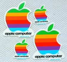 Vintage Apple Decal Stickers, Set of 4 Rainbow Logos in 2 Sizes