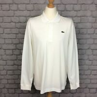 LACOSTE SPORT MENS UK XL SIZE 6 WHITE LONG SLEEVE MEDWAY POLO SHIRT TSHIRT CS