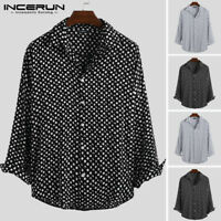 Men's Retro Polka Dot Button Down Long Sleeved Collar Shirt Slim Fit Casual Tops