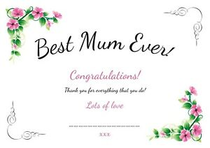 Personalised Best Mum certificate mothers day gift idea card - ideal for framing