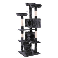 """New listing 60"""" Black Pet Cat Tree Play House Tower Condo Bed Scratch Post Toy"""