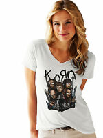 Korn Women White V-neck T-Shirt Metal Band Rock Tee Shirt