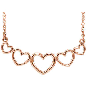 """Graduated Heart 17.5"""" Necklace In 14K Rose Gold"""