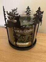 2 Pc Yankee Candle Metal Reindeer & Tree Candle Jar HolderW Mistletoe Candle