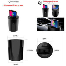 Qi Wireless Charger Cup Mount Holder W/ USB Charging For Iphone 8/X Galaxy S8/S7