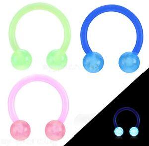 "PAIR 16Ga 3/8"" Flexible Horseshoe Circular with Glow in the Dark Ball Ear Septum"