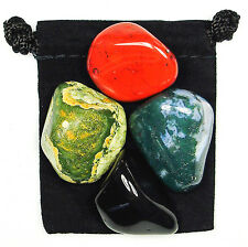 INNER STRENGTH Tumbled Crystal Healing Set = 4 Stones + Pouch + Description Card