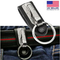 Leather Detachable Quickdraw Keychain Belt Clip Key Ring Holder Quick Release