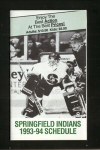 Springfield Indians--1993-94 Pocket Schedule--WTTC/Turley--AHL-Whalers Affiliate
