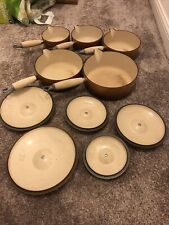 Le Creuset Set Of 5 Pans With Lids. Brown (reasonable Condition)