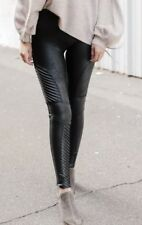 NEW SPANX Black FAUX LEATHER MOTO Leggings, XL (fits like a size large)
