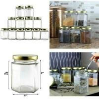 6-Ounce Hexagon Glass Jars (12-Pack); Empty Hex Jars W/Gold Lids For Party Favor