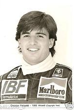 photo originale . course automobile F1 . Christian Fittipaldi - 1992 - Minardi