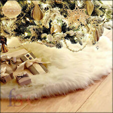 90cm Long Snow Plush Christmas Tree Skirt Base Floor Mat Cover XMAS Party Decor