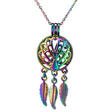 C728 Multi Color Peacock Pearl Cage Leaf Dangle Pendant Necklace