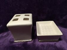 Ceramic Toothbrush Holder And Soap Dish White Silver Trim Bathroom Set