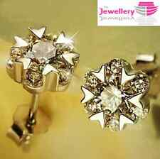925 Sterling Silver 7 Crystal Flower Stud Round Earrings Jewellery Womens Gift