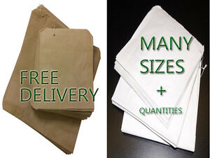 Paper Bags Kraft Brown or White for Food or Sandwiches  1000 Many SIzes