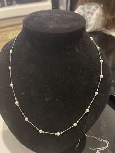 Platinum Necklace With Akoya White Pearls,  Not 18 Carats Gold