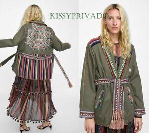 ZARA Khaki Green Parka Coat with Multicoloured Mirrored Embroidery L BNWT