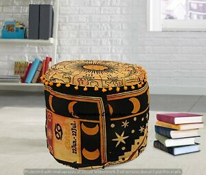 Mandala Astrology Tapestry Indian Cotton Poufs Cover Round Ottomans Cover Decor