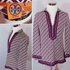 TORY BURCH Tile Work Tunic Top LS Purple White Cruise Resort Womens Sz 4 $350 RT