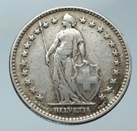 1920 SWITZERLAND -  HELVETIA Symbolizes SWISS Nation SILVER 2 Francs Coin i86076