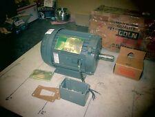 "Lincoln AC Motor #T-F4030 575V 2 HP 3450 RPM Frame 145T TEFC Shaft .75"" OD (NIB)"