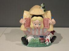 Disney Alice In Wonderland White Rabbit House Cookie Jar Ceramic Figure ~Vintage