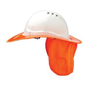 Prochoice SAFETY HARD HAT NECK FLAP Plastic Brim, Suits HHV6 ORANGE *Aust Brand
